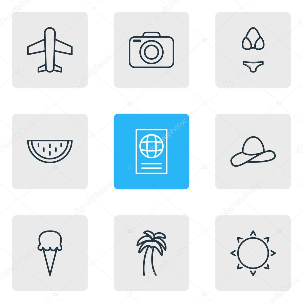 Vector Illustration Of 9 Season Icons. Editable Pack Of Certificate, Cap, Swimwear And Other Elements.