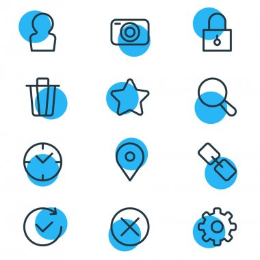 Vector Illustration Of 12 App Icons. Editable Pack Of Locked, Garbage Container, Rating And Other Elements.