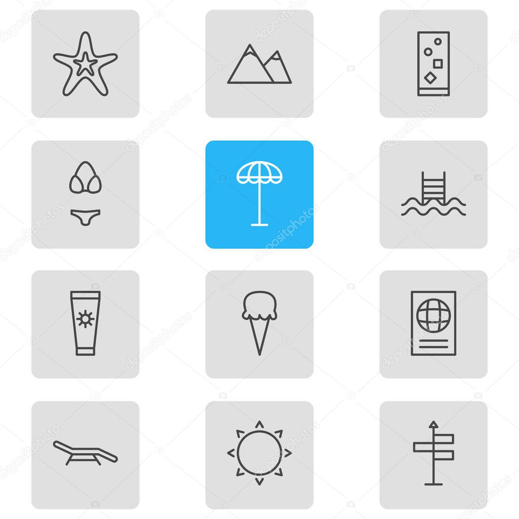 Vector Illustration Of 12 Summer Icons. Editable Pack Of Swimming, Swimwear, Sunny And Other Elements.