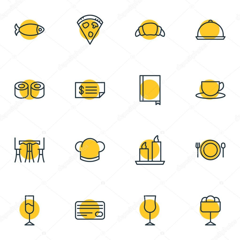 Vector Illustration Of 16 Restaurant Icons. Editable Pack Of Book, Card, Wineglass And Other Elements.