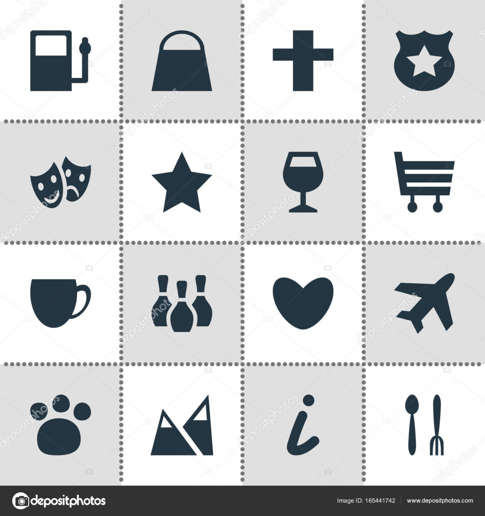 Vector Illustration Of 16 Check In Icons Editable Pack Of Map