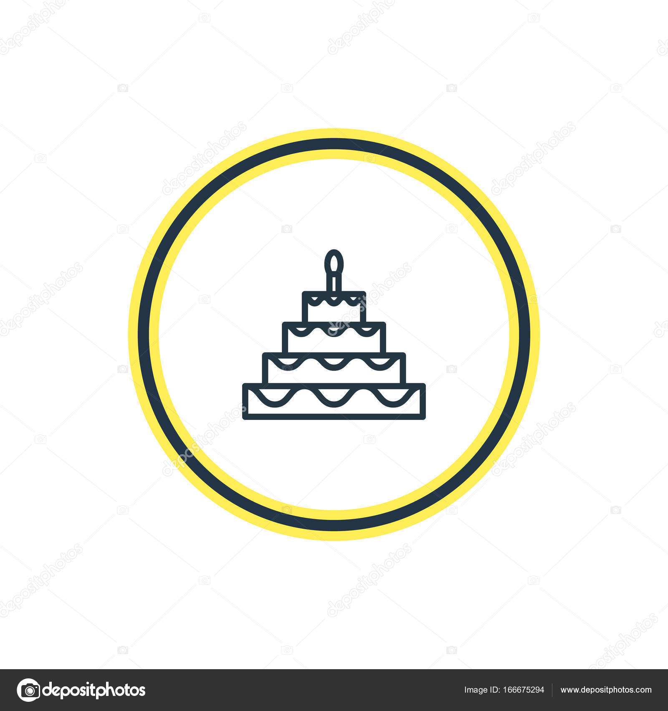 Vector Illustration Of Birthday Cake Outline Beautiful Feast
