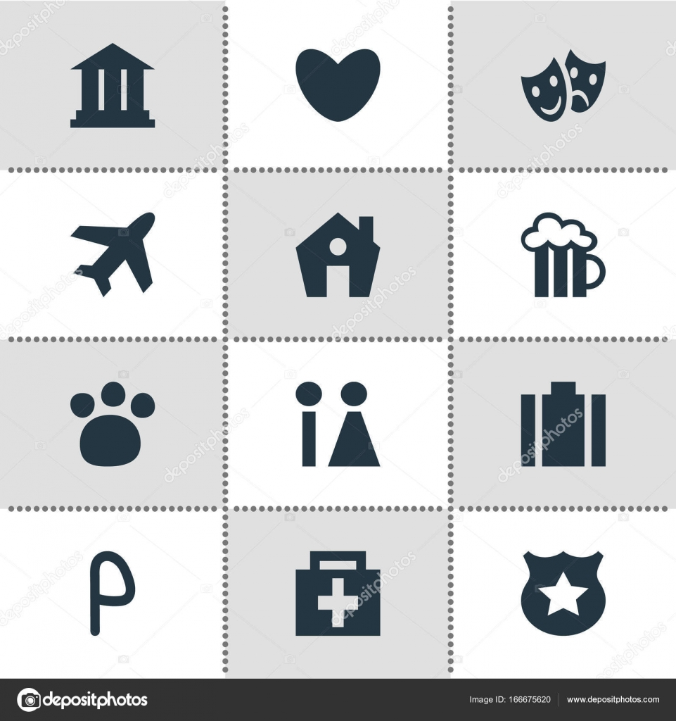 Vector Illustration Of 12 Location Icons Editable Pack Of Aircraft