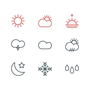Editable Pack Of Fulminant, Rain, Sunlight And Other Elements.  Vector Illustration Of 9 Atmosphere Icons. icon