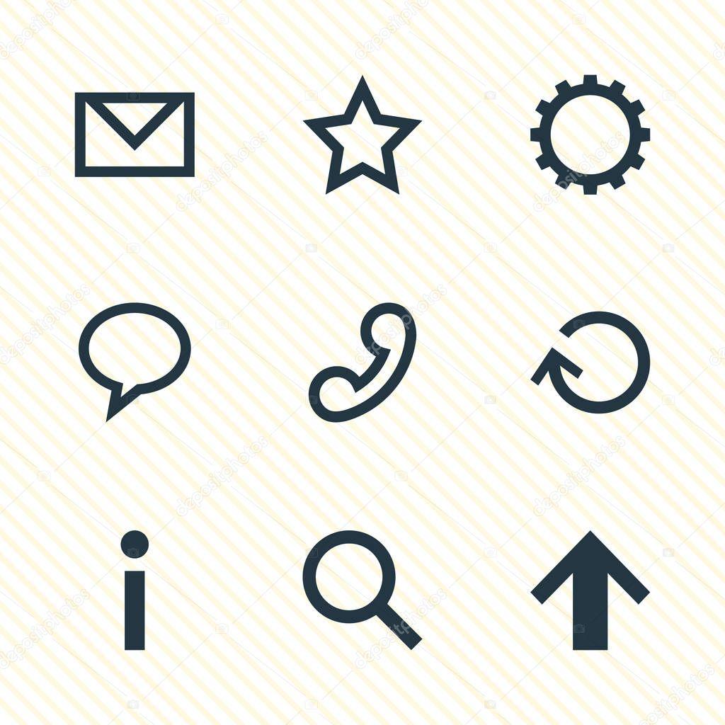 Vector Illustration Of 9 Member Icons. Editable Pack Of Handset, Cogwheel, Letter Elements.