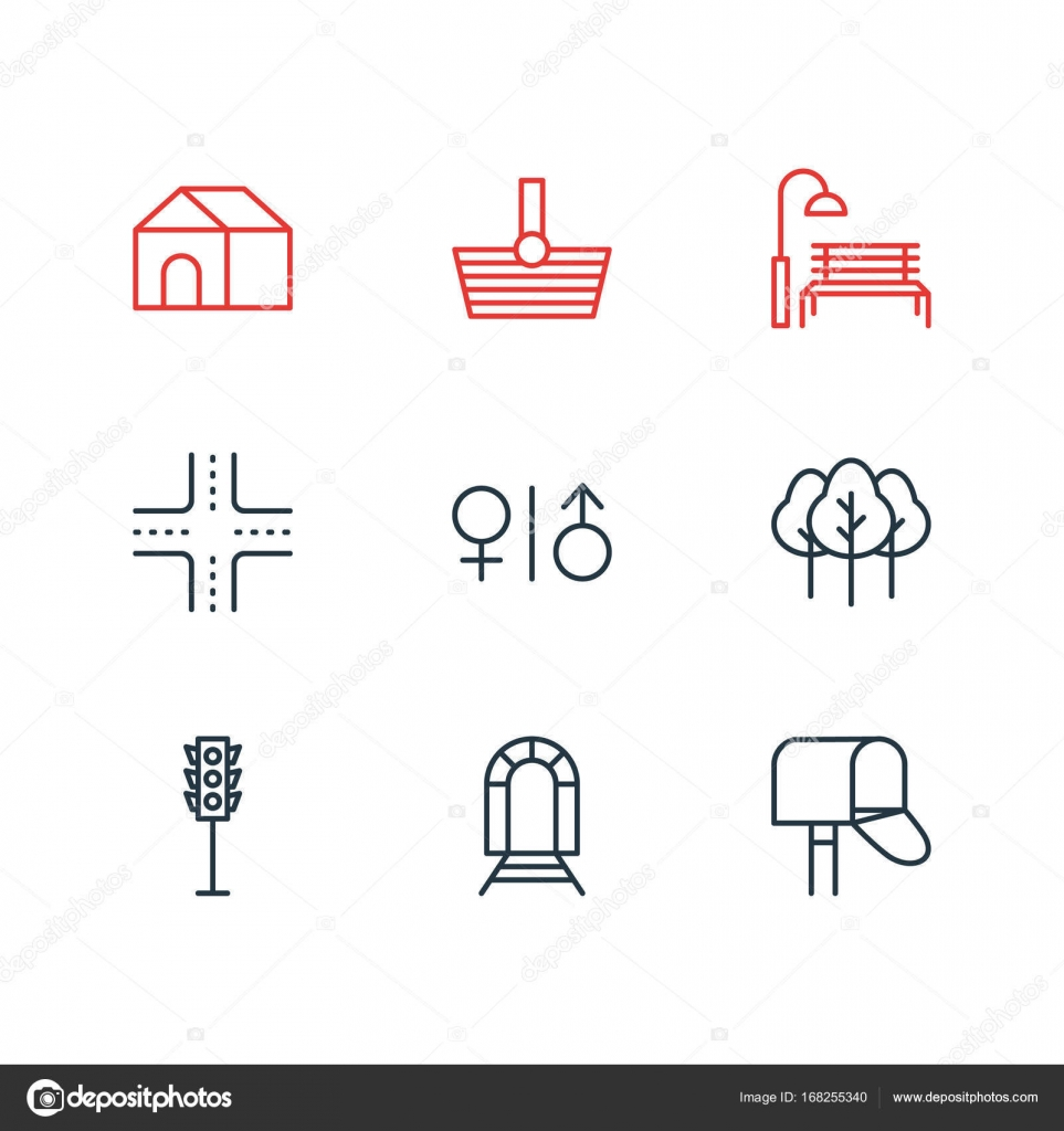 Mobiliario Urbano Iconos Ilustración Vectorial De Iconos