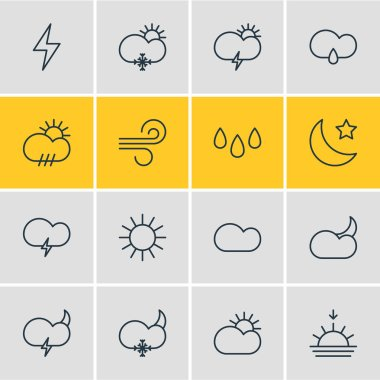 Editable Pack Of Sunlight, Moon Month, Sunny And Other Elements.  Vector Illustration Of 16 Atmosphere Icons. icon
