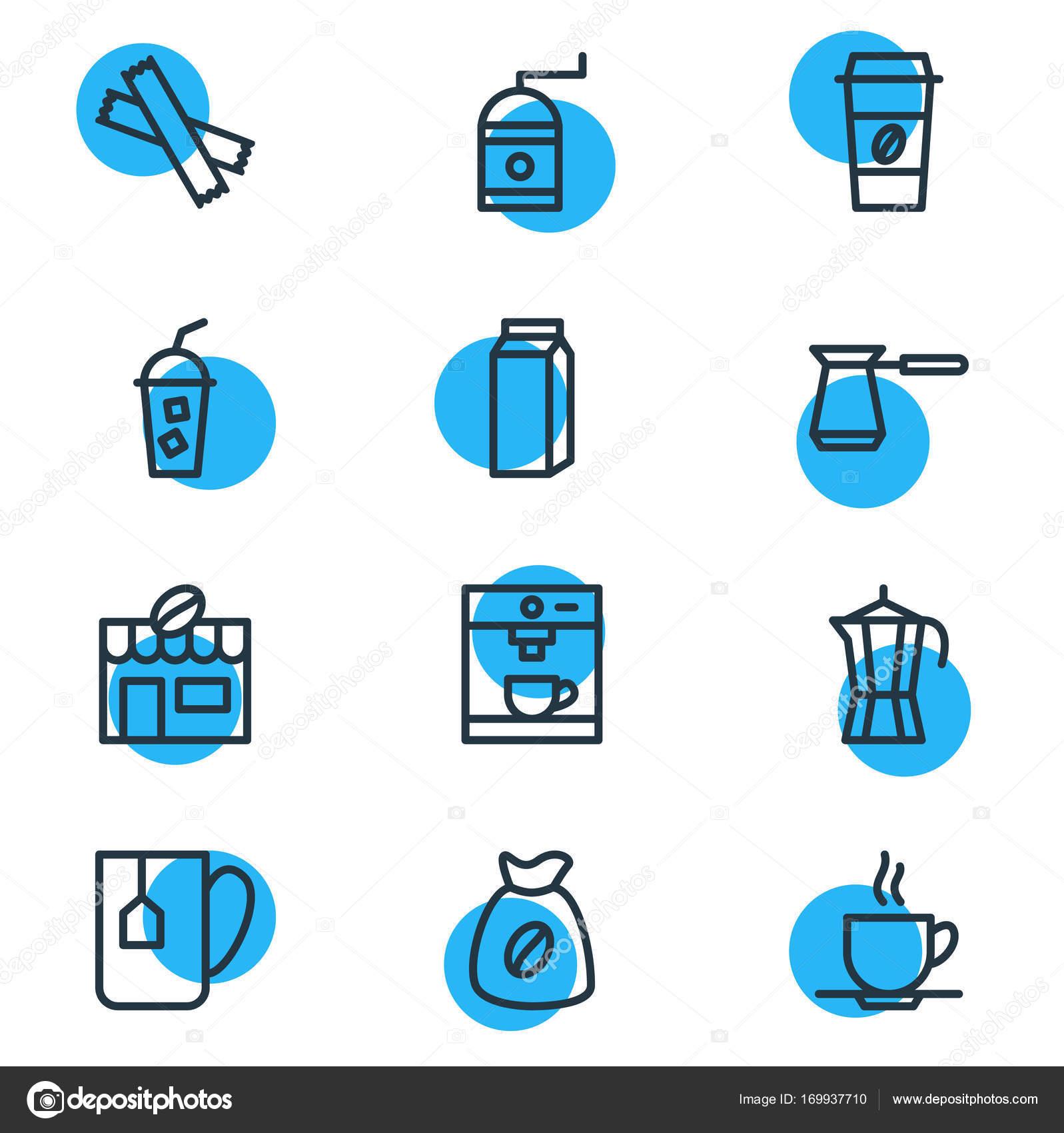 Vektor-Illustration von 12 Java-Icons. Editierbare Pack Türkisch ...