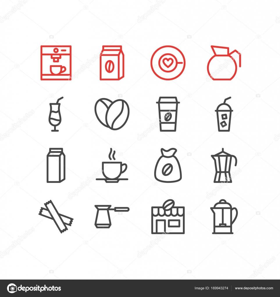 Vektor-Illustration von 16 trinken Icons. Editierbare Pack von Mokka ...