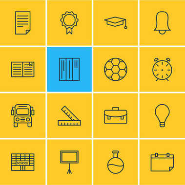 Vector Illustration Of 16 Studies Icons. Editable Pack Of Meter, Tube, School And Other Elements.