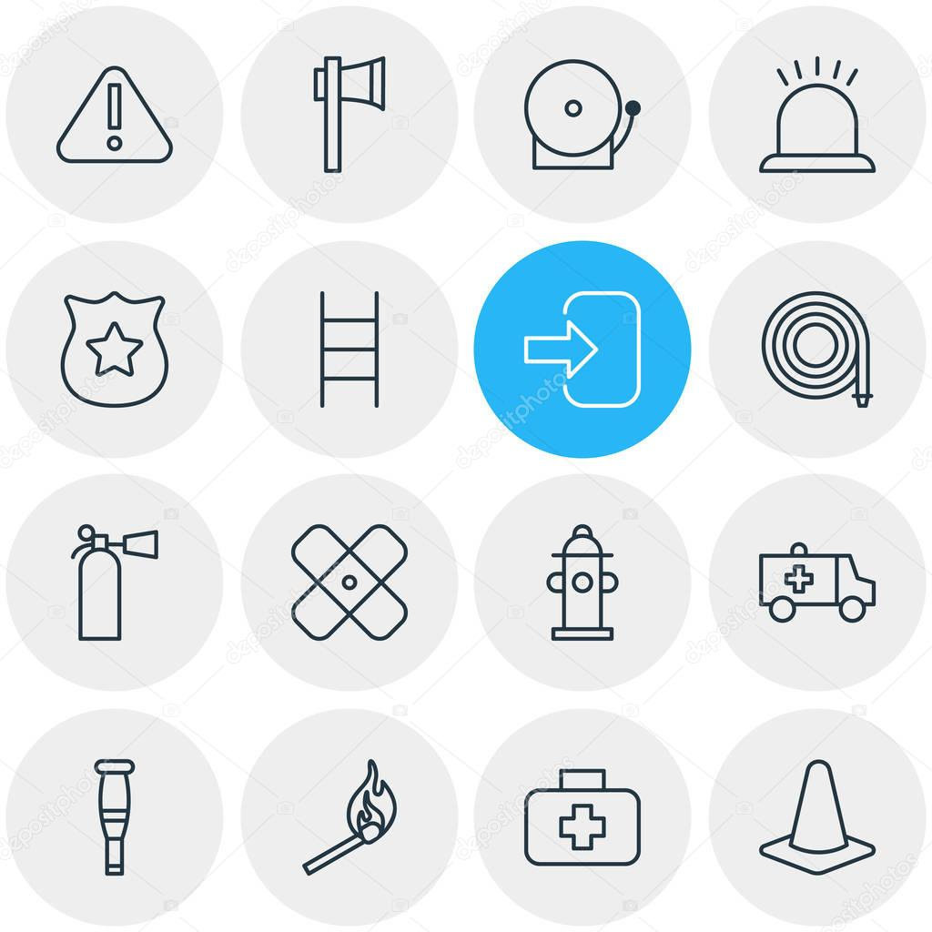Vector Illustration Of 16 Necessity Icons. Editable Pack Of Alarm, Adhesive, Stairs And Other Elements.