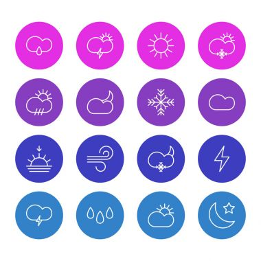 Editable Pack Of Moon Month, Cloudy, Breeze And Other Elements.  Vector Illustration Of 16 Atmosphere Icons. icon