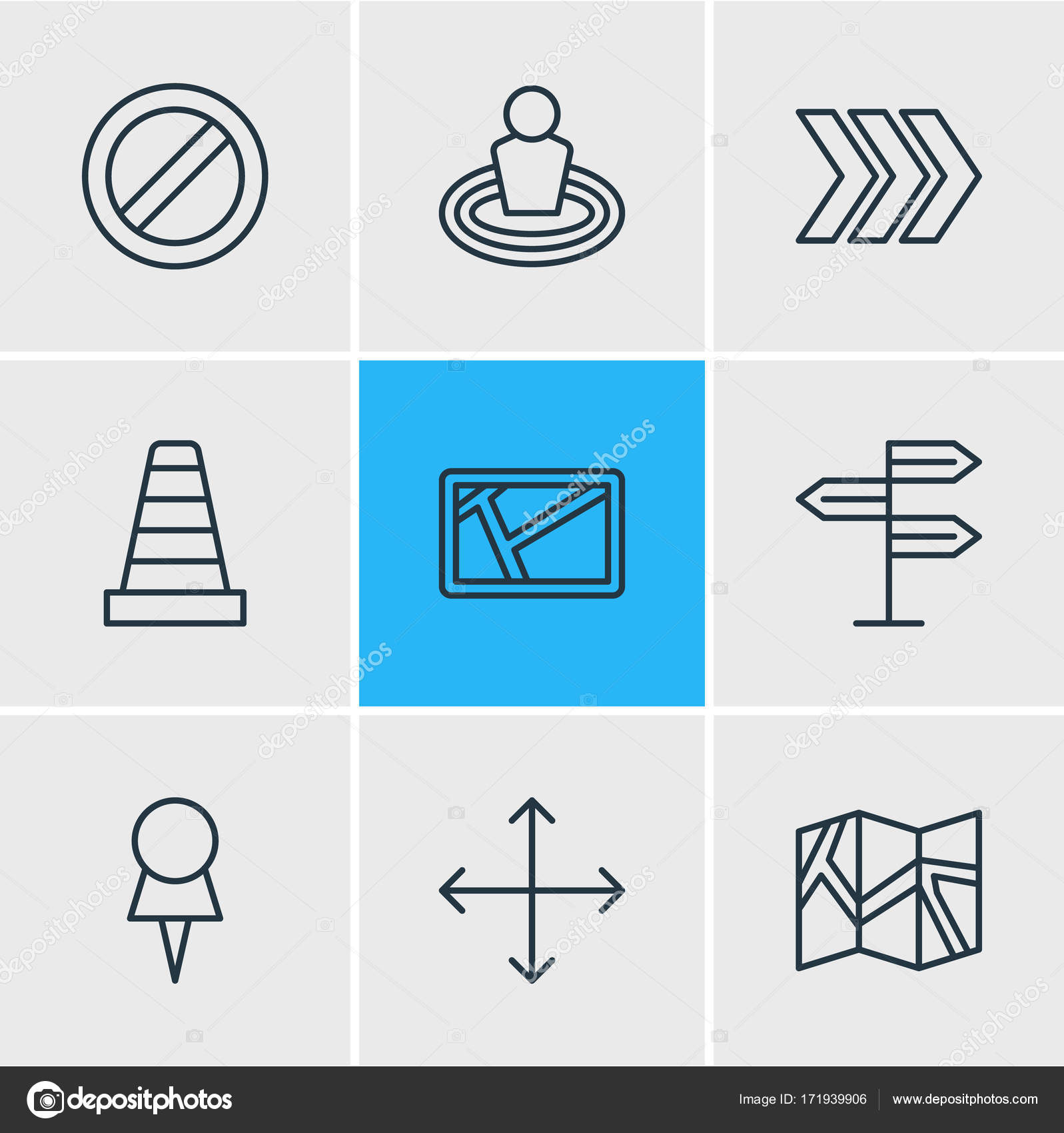 Vector Illustration Of 9 Direction Icons. Editable Pack Of Map, Paper  Geography, Block