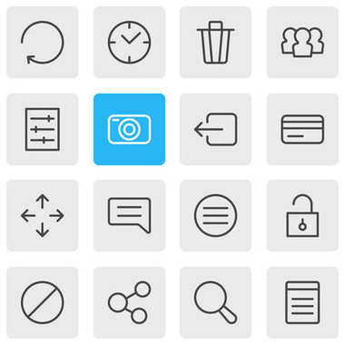 Editable Pack Of Photo Apparatus, Exit, Block And Other Elements.  Vector Illustration Of 16 App Icons. icon