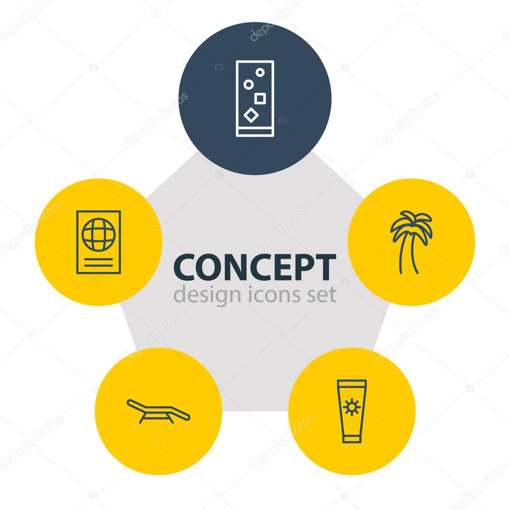 Vector Illustration Of 5 Season Icons. Editable Pack Of Certificate , Island , Cocktail Elements.