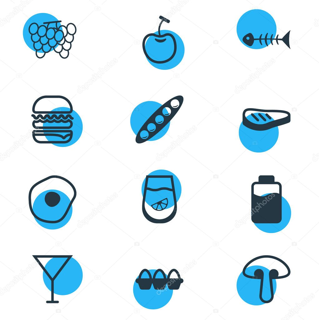 Vector Illustration Of 12 Eating Icons. Editable Pack Of Berry Type, Vineyard, Container And Other Elements.