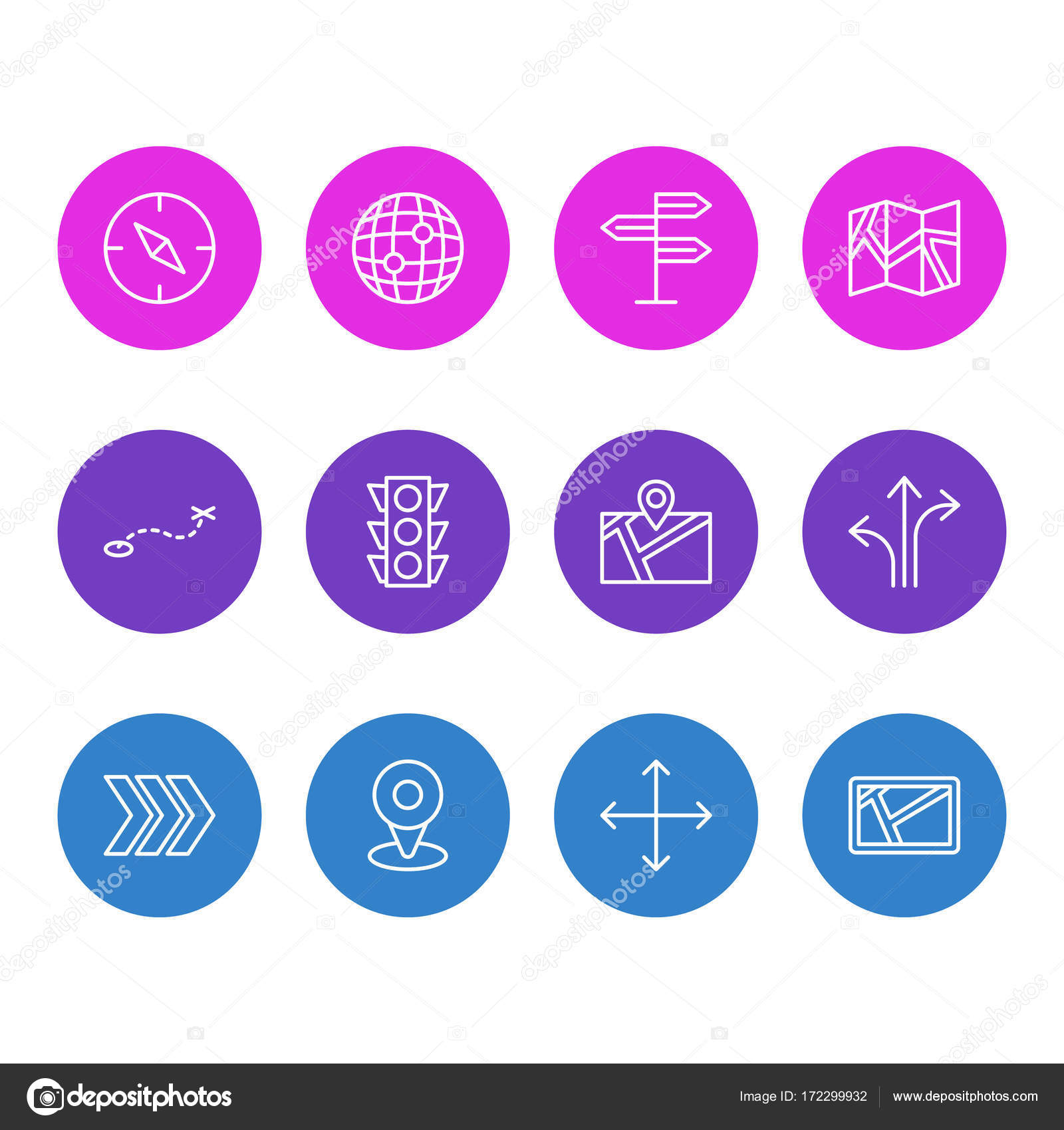 Vector illustration of 12 location icons editable pack of world vector illustration of 12 location icons editable pack of world map arrow and gumiabroncs Image collections