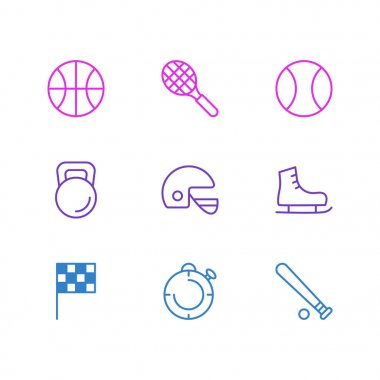 Editable Pack Of Helmet, Ice Boot, Second And Other Elements.  Vector Illustration Of 9 Sport Icons. icon