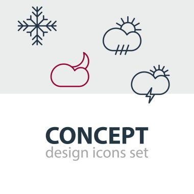 Editable Pack Of Windstorm, Rain, Moon Month And Other Elements.  Vector Illustration Of 4 Sky Icons. icon