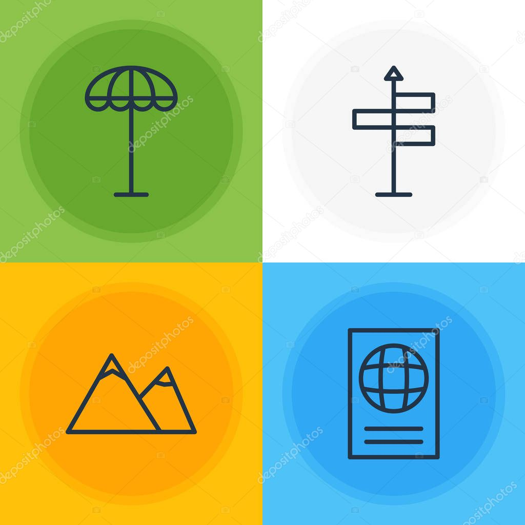 Vector Illustration Of 4 Summer Icons. Editable Pack Of Hill, Umbrella, Guide And Other Elements.