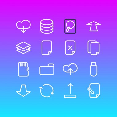Vector Illustration Of 16 Archive Outline Icons. Editable Set Of Memory, Agreement, Dossier And Other Elements.