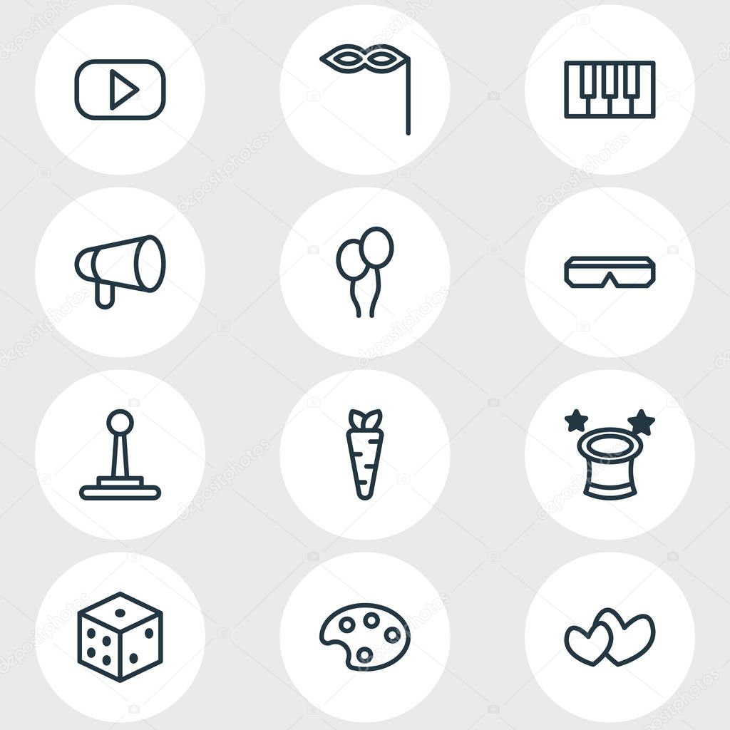 Vector Illustration Of 12 Leisure Outline Icons. Editable Set Of Soul, Artist, Game Controller And Other Elements.