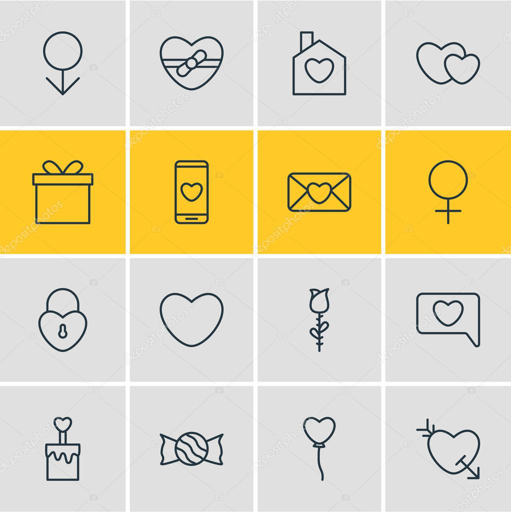 Vector Illustration Of 16 Love Outline Icons. Editable Set Of Soul, Present, Gift And Other Elements.