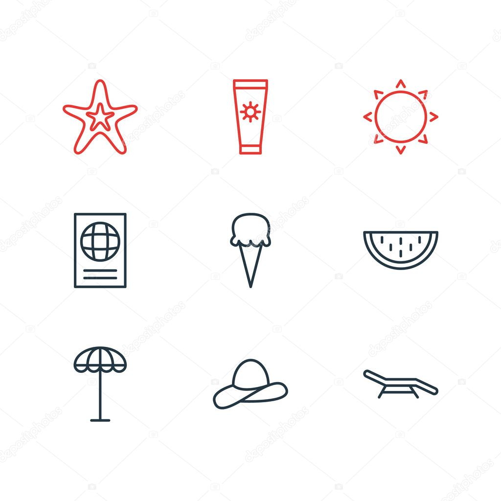 illustration of 9 summer icons line style. Editable set of longue, sorbet, sunny and other elements.