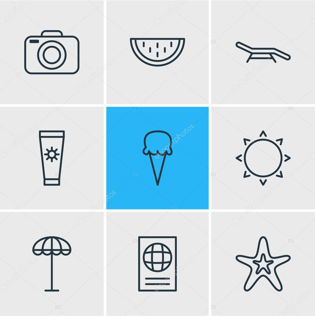 Vector illustration of 9 season icons line style. Editable set of anti-sun cream, sunny, longue and other elements.