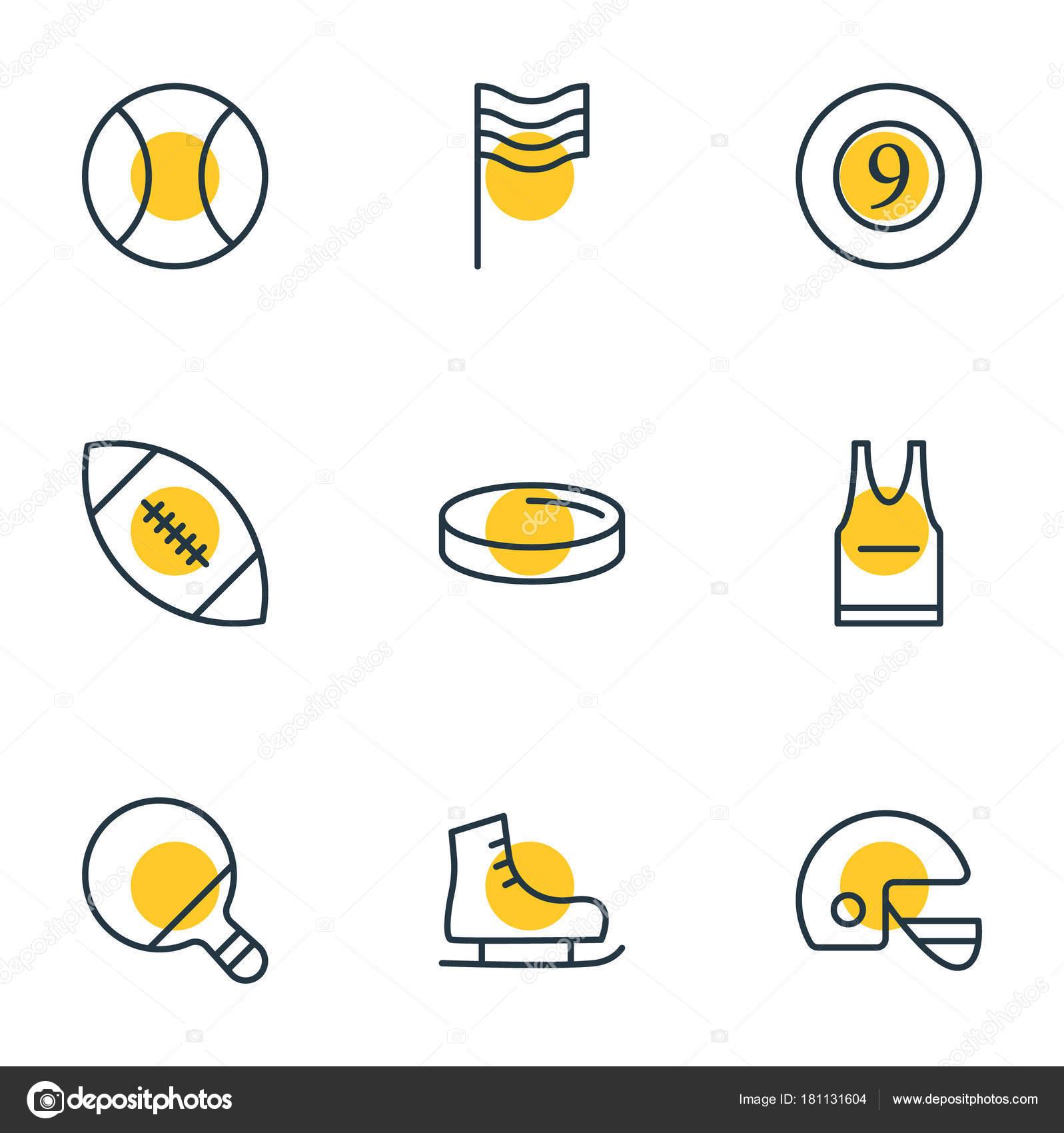 Vector illustration of 9 fitness icons line style. Editable set of skates 9629e29b86c7