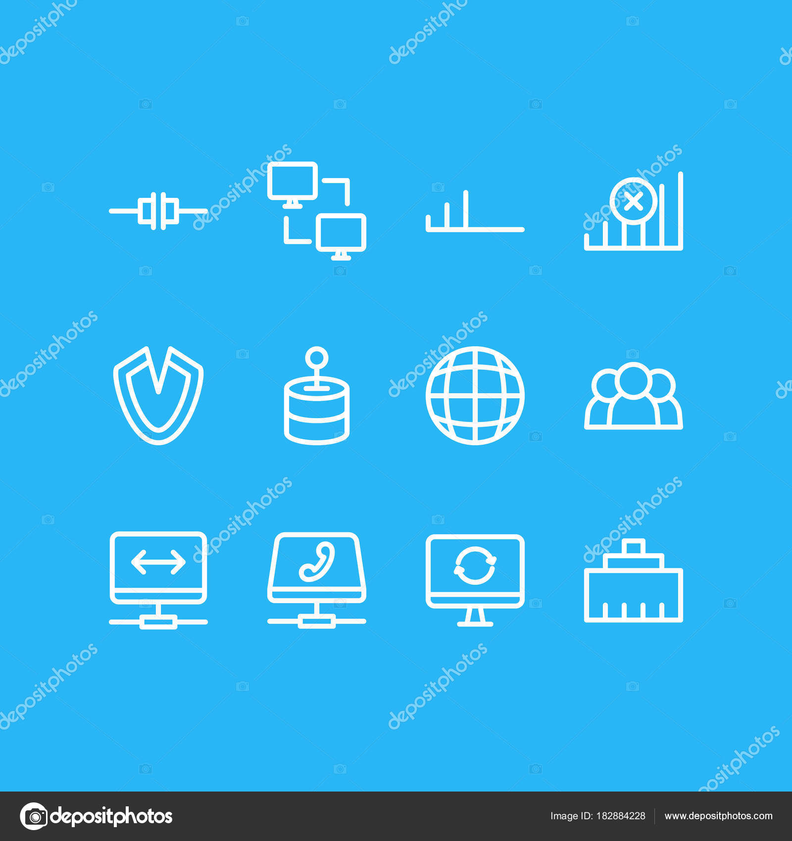 Vector illustration of 12 web icons line style. Editable set of no ...