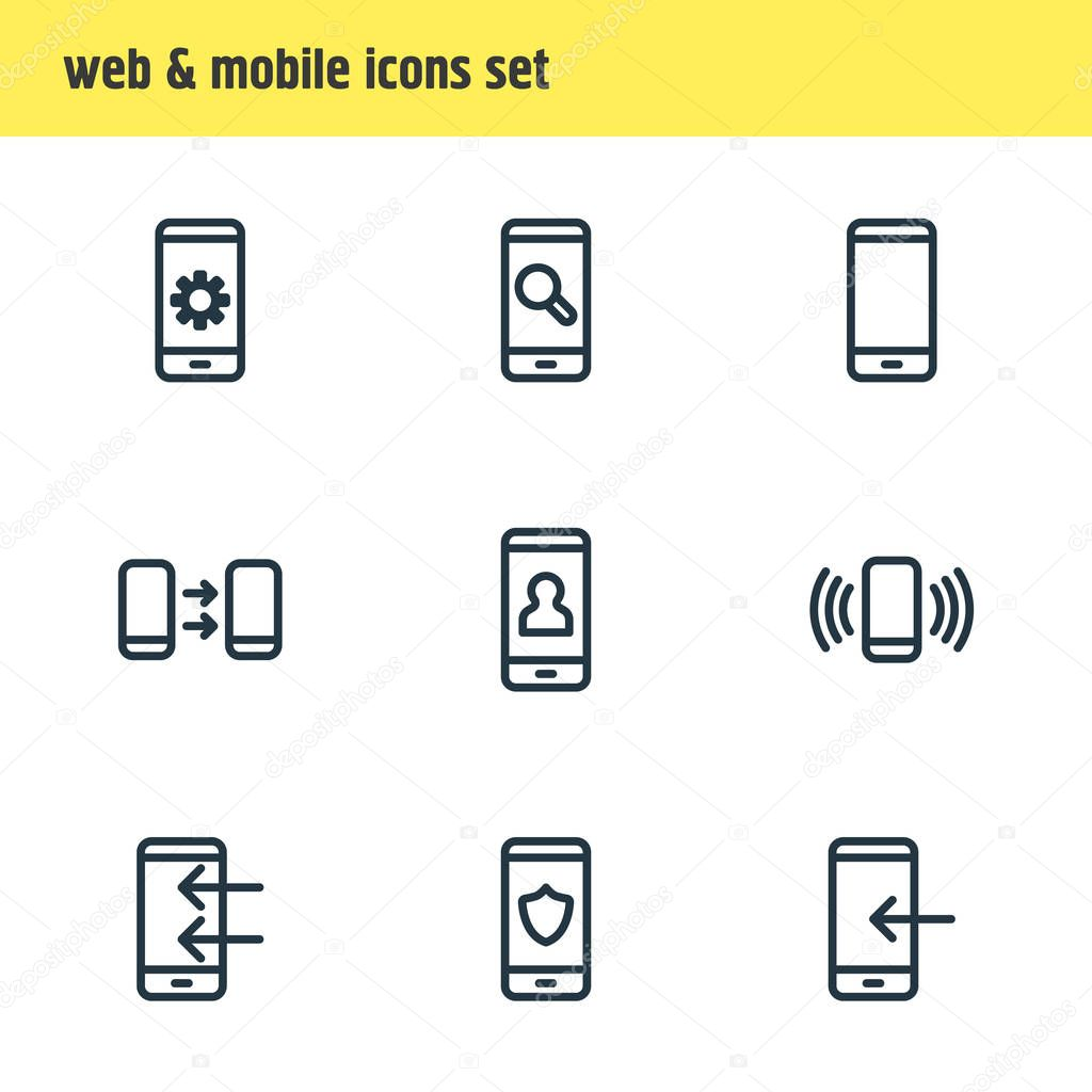 Vector illustration of 9 telephone icons line style. Editable set of apps, search, pinpoint and other icon elements.