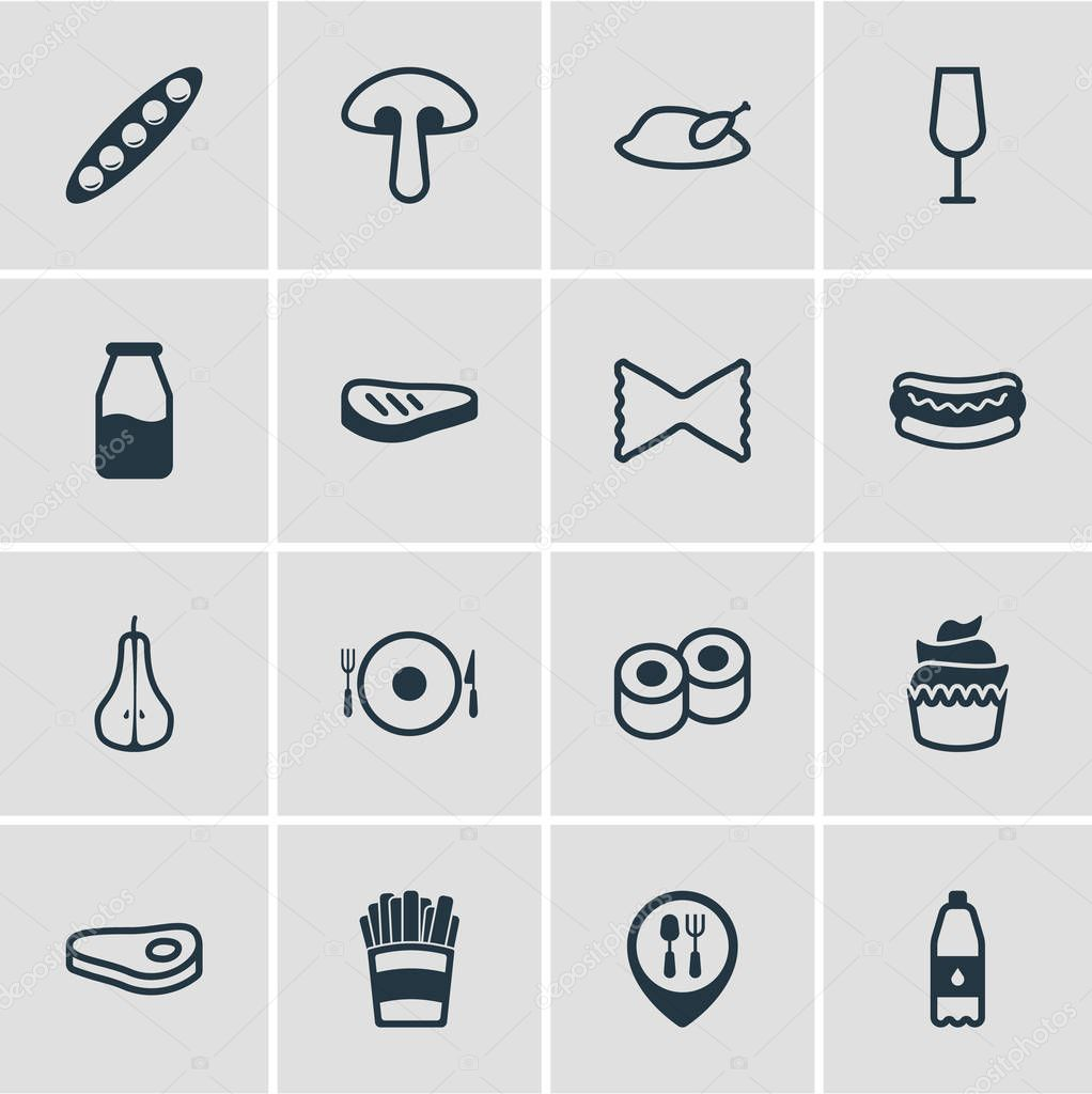 Vector illustration of 16 meal icons line style. Editable set of drink bottle, dinner place, sushi and other icon elements.