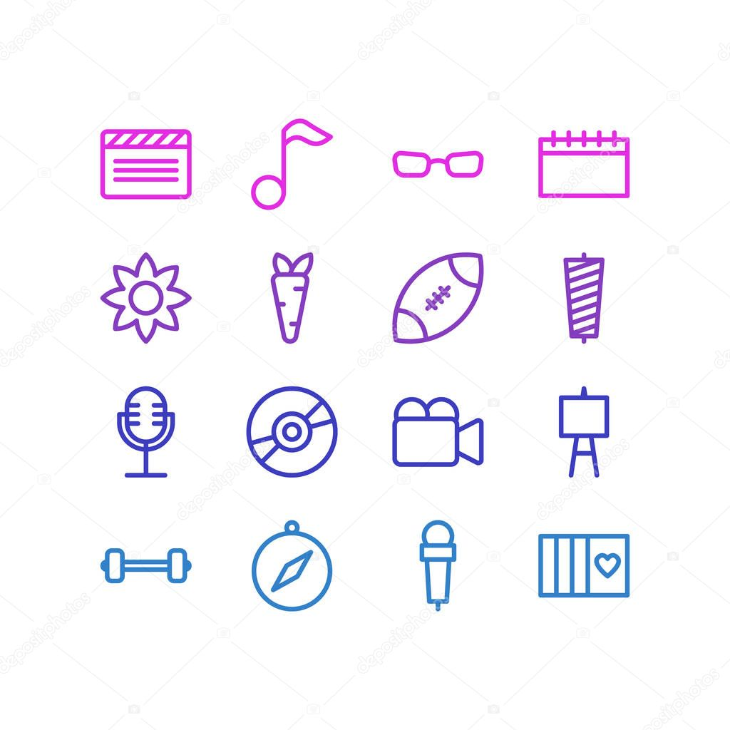 illustration of 16 entertainment icons line style. Editable set of clapper, carrot, easel and other icon elements.