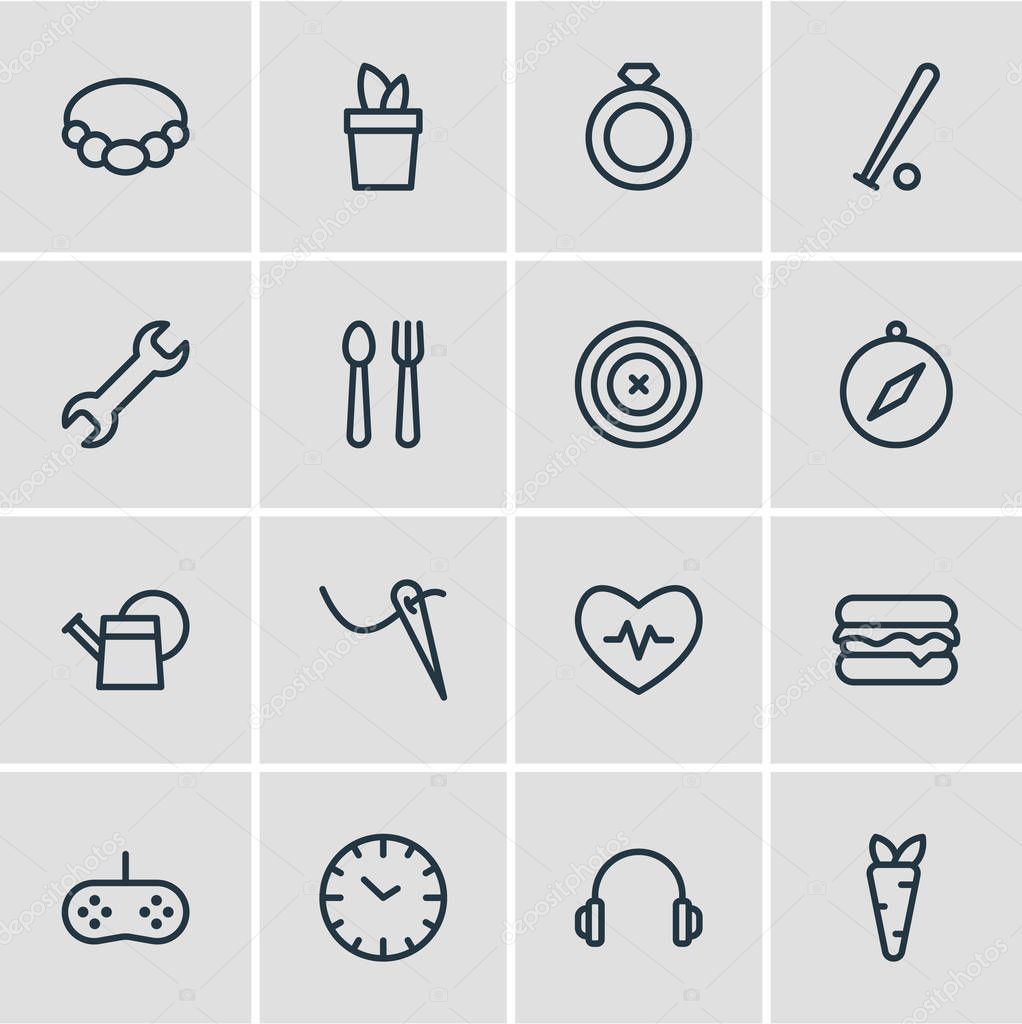 Vector illustration of 16 entertainment icons line style. Editable set of burger, carrot, game controller and other icon elements.