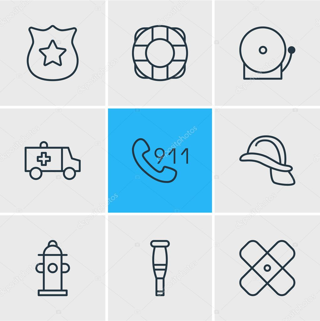 Vector illustration of 9 extra icons line style. Editable set of police, plaster, lifebuoy and other icon elements.
