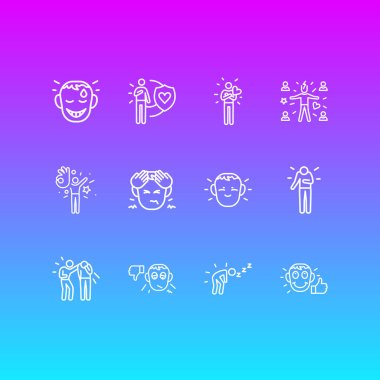 Vector illustration of 12 emotions icons line style. Editable set of hungover, pessimistic, gratitude and other icon elements.