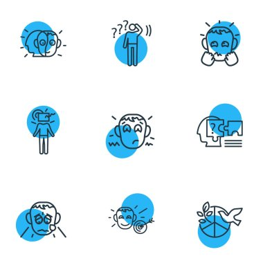Vector illustration of 9 emoticon icons line style. Editable set of grieving, problem solving, alter ego and other icon elements.