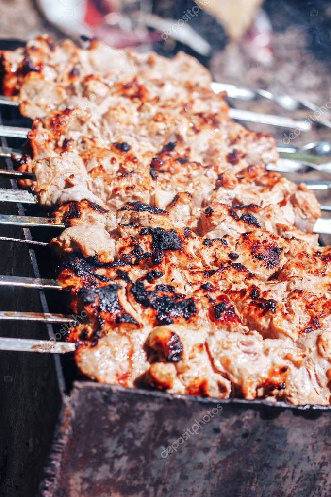 Barbecue Beef Kebabs On a hot Grill