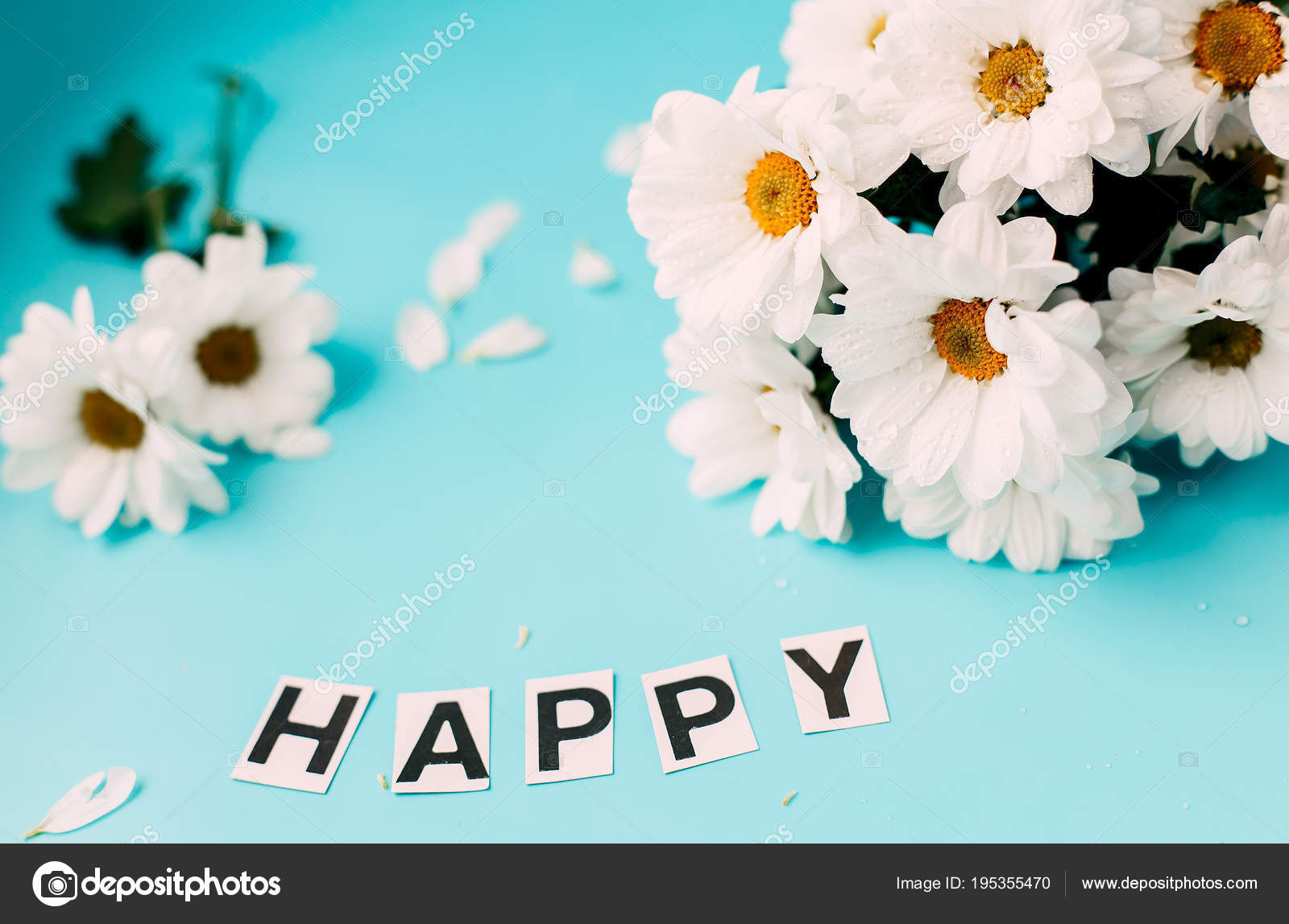 Happy Day White Flowers Letters Happy Stock Photo Nesteaav