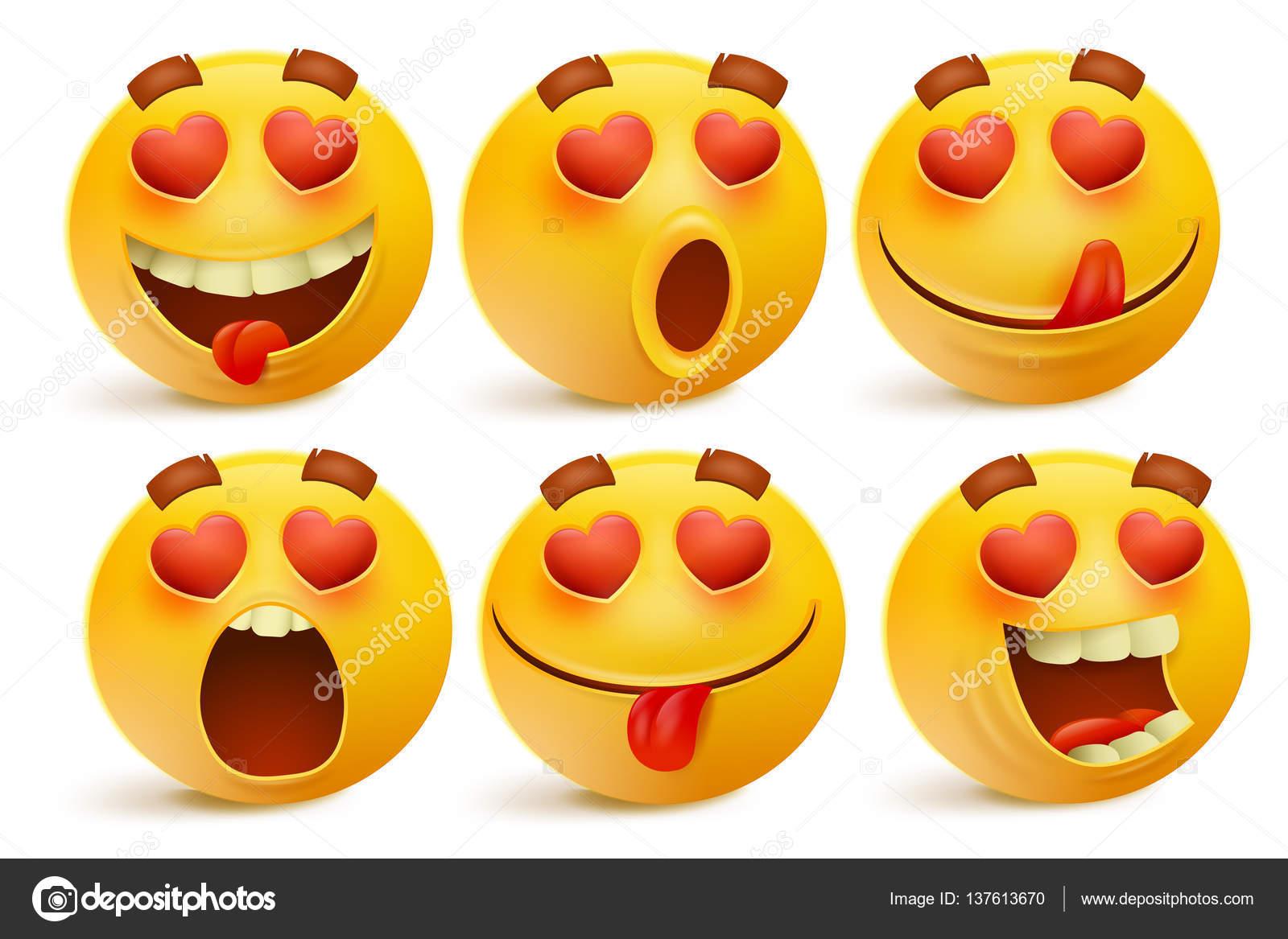 Valentinstag Emoticon Icons Liebe Emoji Satz Isoliert Auf Weissem