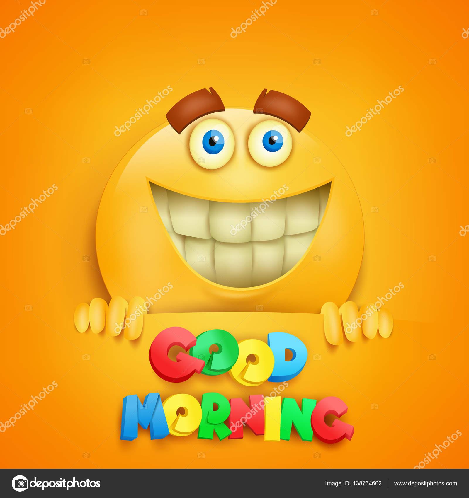 Guten Morgen Konzept Karte Mit Gelben Smiley Zeichen