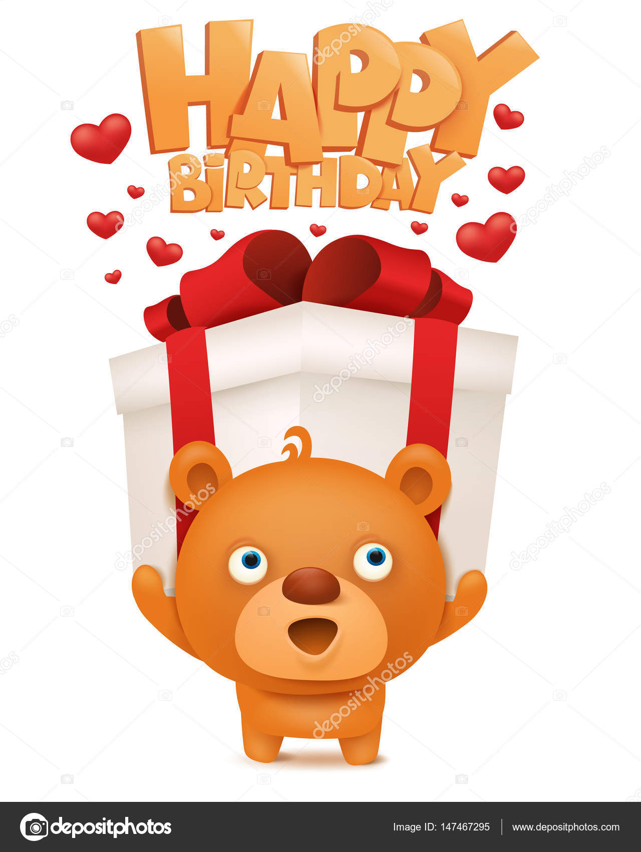 Brown funny emoji teddy bear with gift box. Happy birthday ...