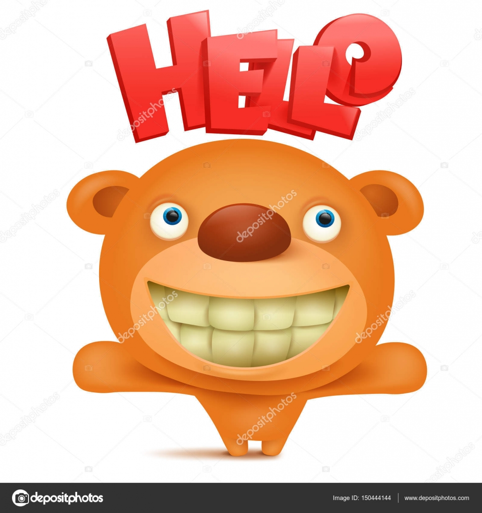 teddy bear emoji character with hello title stock vector