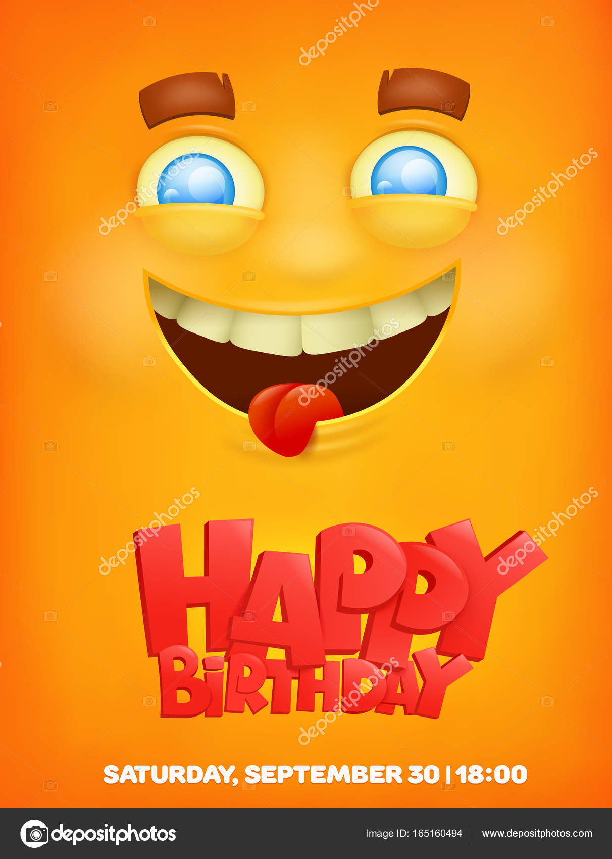 Happy Birthday Greeting Card With Emoji Smile Face Stock Vector