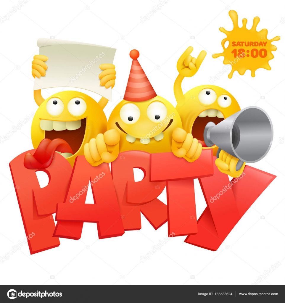 smiley yellow faces group emoticon characters with party invitation card stock vector