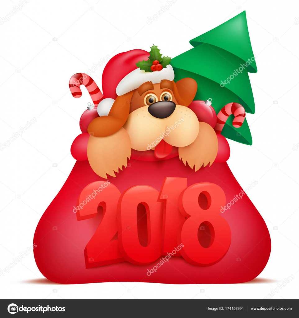 new year invitation card template with dog cartoon character in santaclaus bag stock vector
