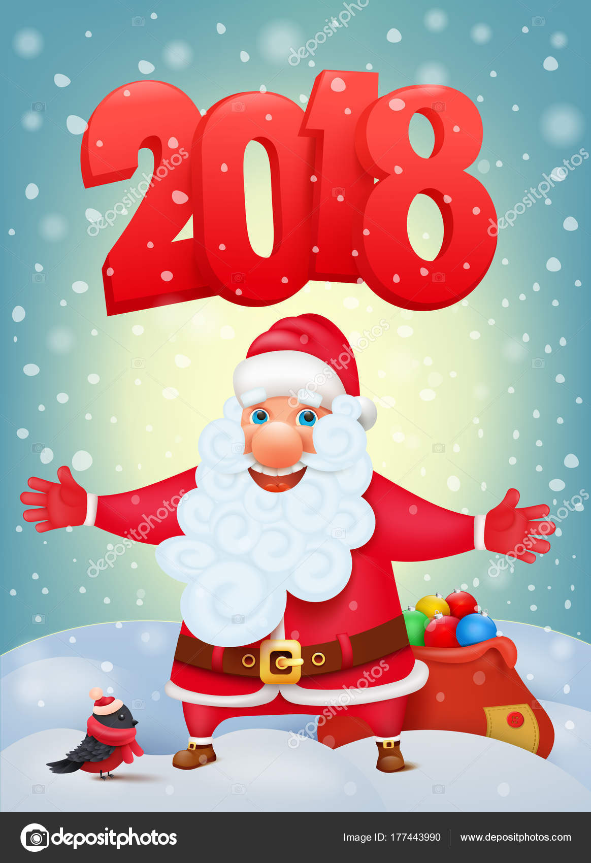 Santa Claus Cartoon Character New Year Invitation Card Template
