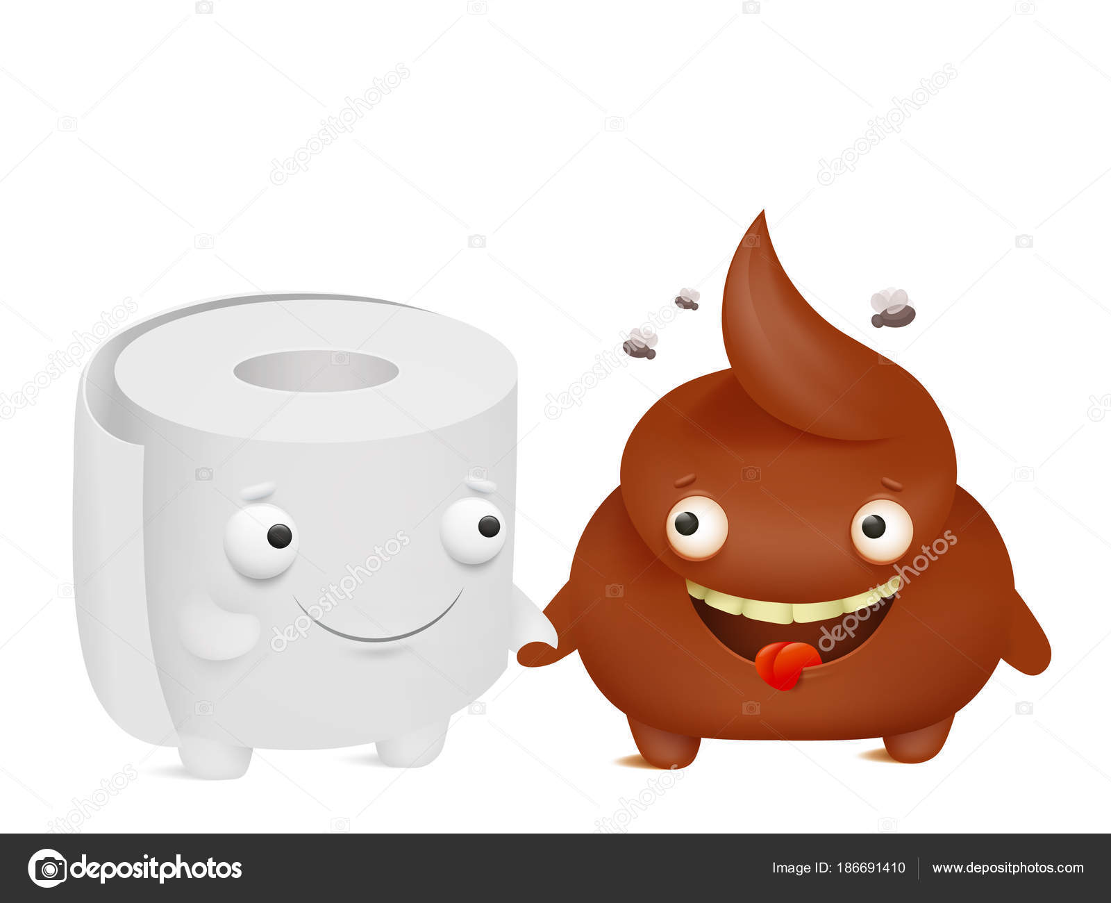 Toilet Paper And Poop Cartoon Emoji Characters Best Friends Stock