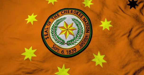 Teljes keret 3D animáció a Cherokee Nation zászló integetés.